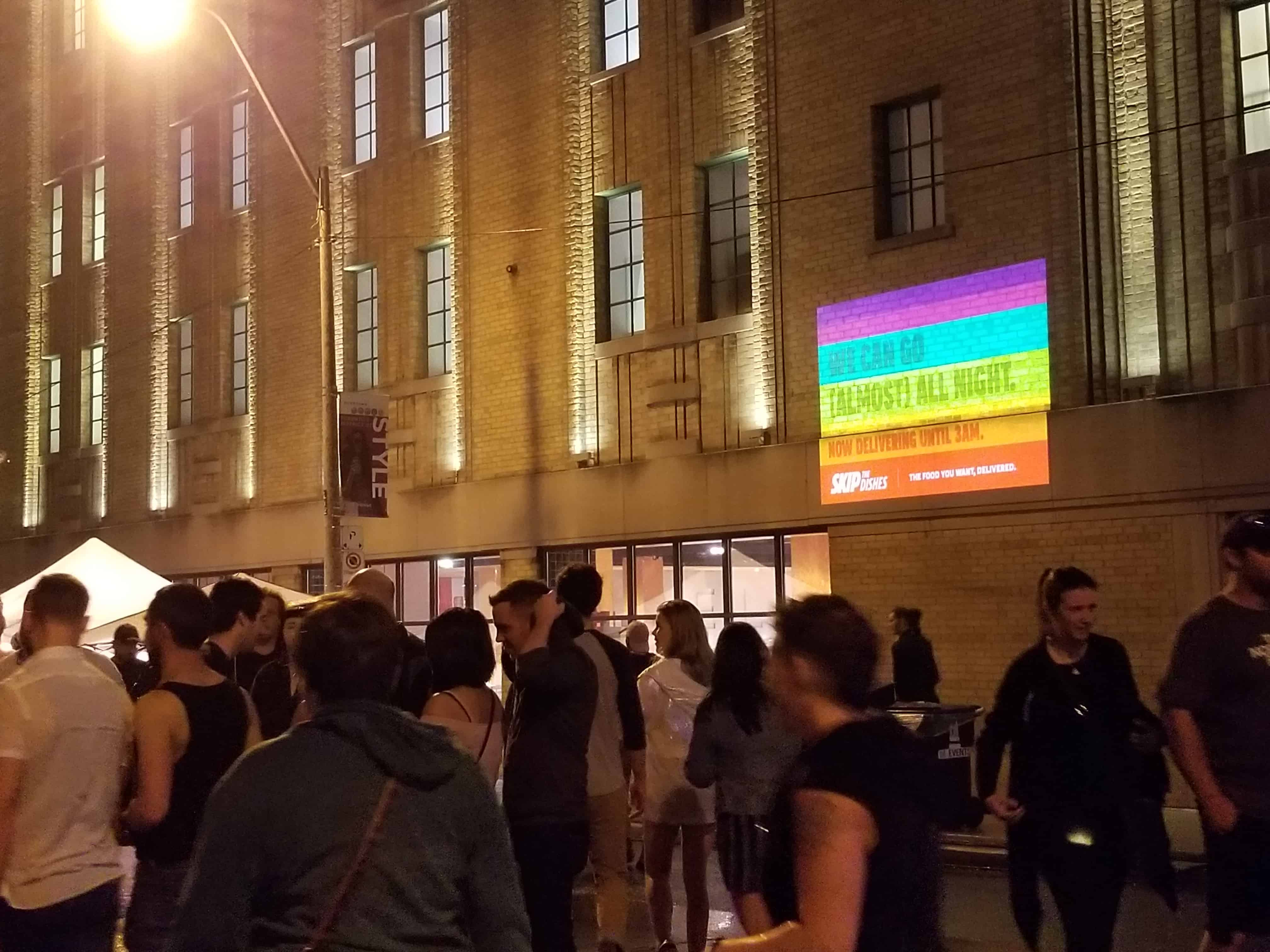 outdoor guerrilla advertising wall projection